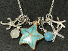 Beach Starfish Gold  Blue Charm Tibetan Silver 18 Necklace Mix B