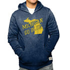 Michigan Wolverines Adult State Logo Go Blue Hooded Sweatshirt Navy