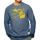 Michigan Wolverines Adult Go Blue State Logo Crewneck Sweatshirt Navy