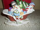 Fitz & Floyd Christmas The Flurries Lidded Sleigh Bowl Snowman