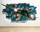 I038 Classic Spitfire Plane War Smashed Wall Decal 3D Art Stickers Vinyl Room
