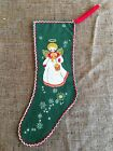 Vintage 1940s Printed Felt Flannel Christmas Stocking Happy New Year AngelHalo