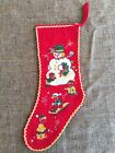 Vintage 1940s Printed Felt Flannel Merry Christmas Stocking SnowmanElvesSled