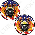 Brake Insert Medallion Decals for Harley Brembo Calipers - USA Flag Fire Fighter