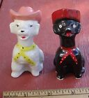 Vintage Dogs in Cowboy Hats Salt and Pepper Shakers Ceramic