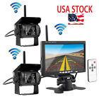 2 X Wireless Rear View Backup Camera Night Vision + 7 Monitor For RV Truck Bus