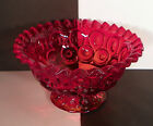 Moon and Stars Amberina Glass Footed Open Compote Ruffled Rim