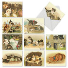 M1732TY Cutey Cats 10 Assorted Thank You Note Cards White Envelopes big cards