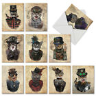 M6554OCB Steampunk Cats 10 Assorted Blank All Occasion Note Cards Envelopes