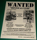 Bonnie and Clyde Reprint Gangster Wanted Poster Criminals Wanted Dead Or Alive