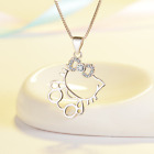 Hello Kitty Cat Kitten Micro inlay CZ 925 Sterling Silver SP Pendant Necklace