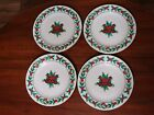 4 Dessert/Salad Plates W/ Gold Edge By Gibson Housewares Christmas Charm Pattern
