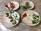 Christmas Dessert Plates. 222 Fifth Noella. Set Of 4. Beautiful. Porcelain. New