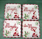 FITZ & FLOYD CHRISTMAS SET DESSERT SNACK PLATES MINGLE JINGLE BE MERRY