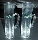 Two Tall Irish Coffee Glass Mugs 2-Cups Clear Glass w/ Handle Green Text Clover