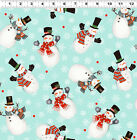 Snowmen LtTeal - Frosty Fun By Sue Zipkin for Clothworks Fabrics HALF YARD