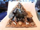 Vintage Nativity Scene with 8 Plastic Figurines in Stable from Italy