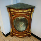 French Louis XV Style Marbletop Corner  Cabinet - Inlaid, Marquetry - Glass Door