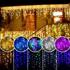 96 1500 LED Hanging Icicle Curtain Lights Outdoor Fairy Xmas String Wedding Lamp