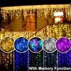 96 1500 LED Hanging Icicle Curtain Lights Outdoor Fairy Xmas String Wedding 110V