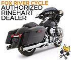 RINEHART 4 XTREME TRUE DUAL EXHAUST CHROME W CHROME TIPS HARLEY TOURING 09 UP