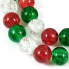 Red Green  Clear Glass Crackle Beads Christmas Bead Mix 10mm 30 Pkg