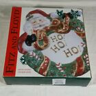 Fitz & Floyd Essentials Santa with Wreath Canape Collectible Plate  #1396