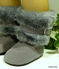 GRAY Suede  Furry Buckle DOLL BOOTS SHOES fits 18 AMERICAN GIRL Doll Clothes