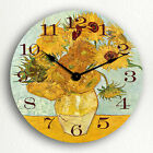 Vase with 12 Sunflowers Vincent van Gogh Classic Fine Artwork Silent Wall Clock