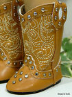TAN LT BROWN Western Studded Cowboy DOLL BOOTS SHOES fits 18 AMERICAN GIRL DOLL