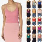 TheMogan Womens Basic Spaghetti Strap V Neck Ribbed Cotton Crop Cami Tank Top