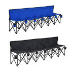 Portable 6 Seats Folding Bench Chair Outdoor Camping Sports Game w Cup Holders