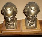 VINTAGE ABRAHAM LINCOLN CAST BRASS BOOKENDS! NICE AGED PATINA! CHECK THEM OUT!