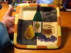 certified international Geoffrey Allen square plate wine cheese grapes tray