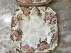 222 Fifth Gabrielle Cream Square Dinner Plates. Set of 4. Porcelain. New.