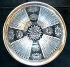 ABP CUT GLASS STERLING SILVER RIM BOWL IN HOBSTAR AND PRISM