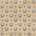 Fabric Western Town Cowboy Horseshoes Blue on Tan Cotton 1 Yard