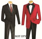 Mens Tuxedo Prom Wedding Groom Suit Classic Fit 2 Buttons Red  Black T DV