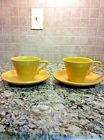 VINTAGE HOMER LAUGHLIN HARLEQUIN FIESTA 'YELLOW' CUP AND SAUCER - SET OF 2