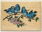 Stampendous FOUR BLUE BIRDS ON TREE BRANCH Flowers Nature Rubber Stamp