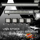 52Inch LED Light Bar Combo + 20in +4 CREE PODS OFFROAD SUV 4WD ATV FORD JEEP 50