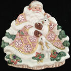 Fitz and Floyd Snowy Woods Santa and Bunnies Serving Plate with Box