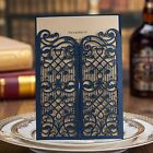 Wishmade Vintage Laser Cut Wedding Invitations Cards Blue 50 Pieces Kit for M