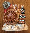 Fitz & Floyd Lantana Cowboy Bookend Western Boots Hat Rope Fence RARE!
