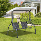 Outdoor 2 Person Porch Swing Patio Garden Wicker Double Seat Chair w Canopy