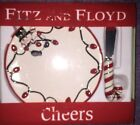 Fitz and Floyd Cheers Snowman with Lights Snack Plate and Spreader  NIB