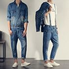 Mens Vintage Casual Denim Overalls Jumpsuits Jean Slim Coat Rompers Cowboy Pants