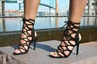 BLACK LACE UP HIGH HEELS STILETTOS ANKLE STRAPPY OPEN TOE FASHION