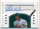 RICKEY HENDERSON 2016 NATIONAL TREASURES CLEAR AUTOGRAPH ATHLETICS AUTO SP 10 15