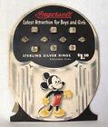 1940s Ingersoll Watch Co Mickey Mouse Donald Duck Ring Display in Original Box